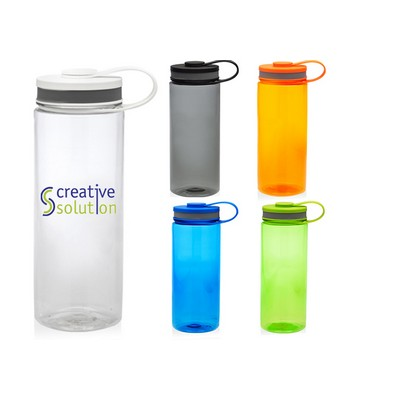 Custom Imprinted 26 oz Hiking Translucent Plastic Bottle with Lid and Carrying Handle